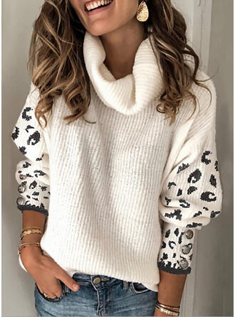 Leopard Turtleneck Casual Sweaters