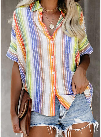 Striped Lapel 1/2 Sleeves Button Up Shirt Blouses