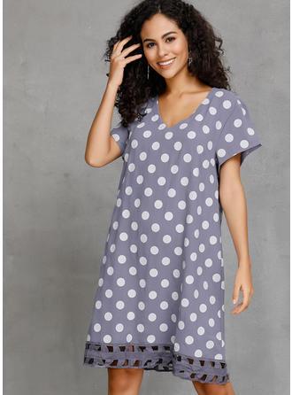 PolkaDot Short Sleeves Shift Knee Length Casual/Vacation Dresses