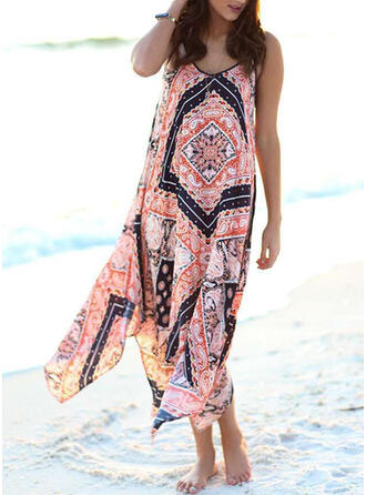Print Sleeveless Shift Sexy/Vacation Midi Dresses