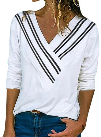 Striped V-neck Long Sleeves Casual Knit T-shirts