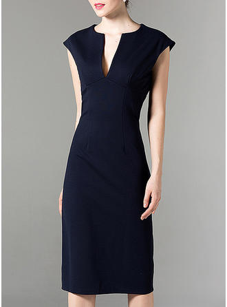 Solid Cap Sleeve Sheath Knee Length Elegant Dresses