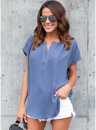 Chiffon V Neck Plain Short Sleeves Casual Blouses