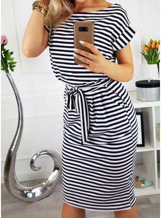 Striped Short Sleeves Bodycon Knee Length Casual/Elegant Dresses