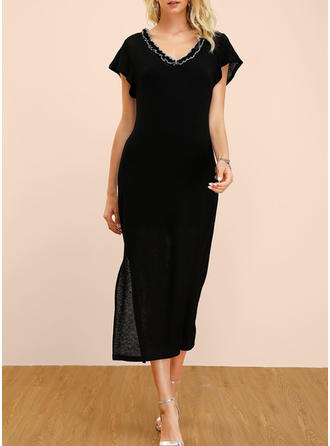 Solid Short Sleeves Sheath Little Black/Casual/Party/Elegant Midi Dresses