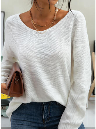 Solid Boat Neck Long Sleeves Casual Basic Knit T-shirts