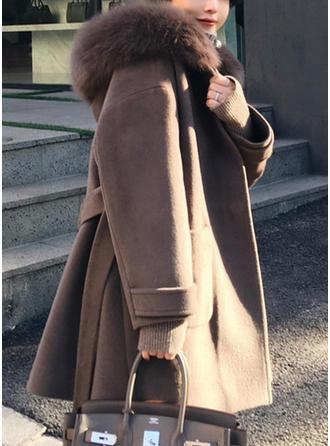 Polyester Manches longues Couleur unie Manteaux de Laine