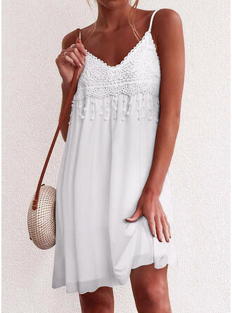 Lace/Solid Sleeveless Shift Above Knee Little Black/Sexy/Casual/Vacation Slip Dresses