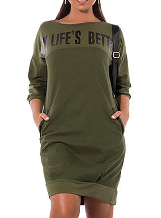 Solid 3/4 Sleeves Shift Above Knee Casual/Plus Size Dresses