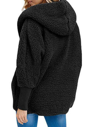 Maniche lunghe Colore solido Cappotto di pelliccia sintetica