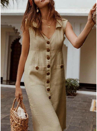 Solid Sleeveless Shift Midi Casual Dresses