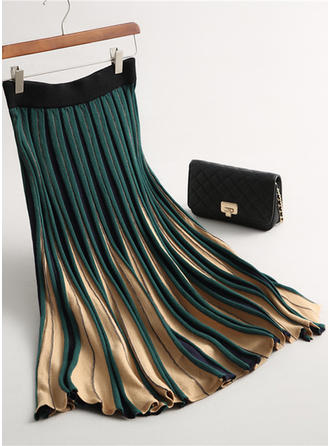 Wool Color Block Mid-Calf Pleated Skirts