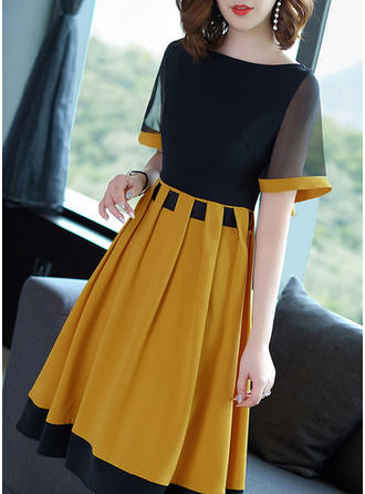 Color-block Short Sleeves A-line Knee Length Vintage/Casual/Elegant Dresses