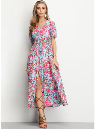 Print/Floral 1/2 Sleeves A-line Midi Casual Dresses