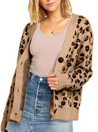Polyester Long Sleeves Animal Print Cardigans