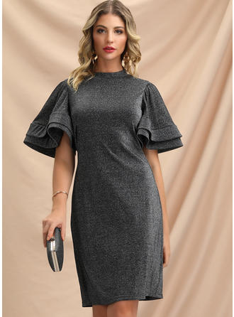 Solid Short Sleeves Sheath Knee Length Party/Elegant Dresses