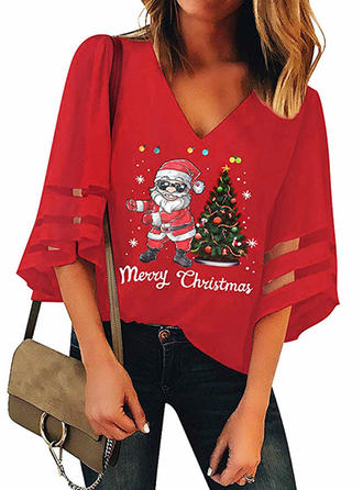 Print V-neck 3/4 Sleeves Casual Christmas Blouses