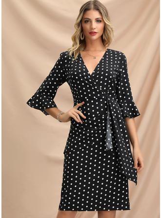 PolkaDot 1/2 Sleeves Sheath Knee Length Party/Elegant Dresses