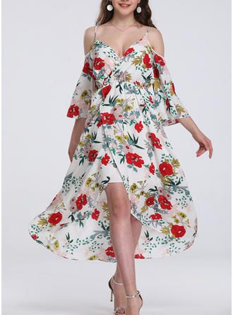 Print/Floral 3/4 Sleeves A-line Asymmetrical Casual/Boho/Vacation Dresses