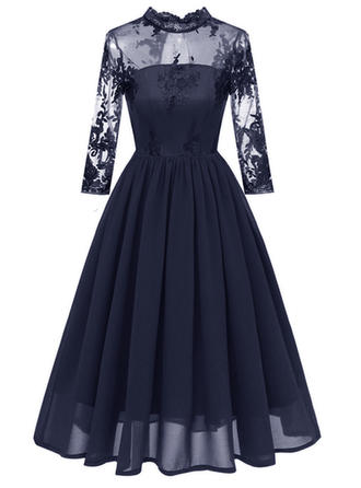 Lace Solid Stand collar Midi A-line Dress