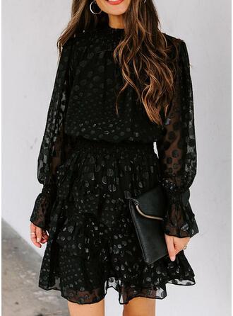 PolkaDot Long Sleeves A-line Above Knee Little Black/Elegant Skater Dresses