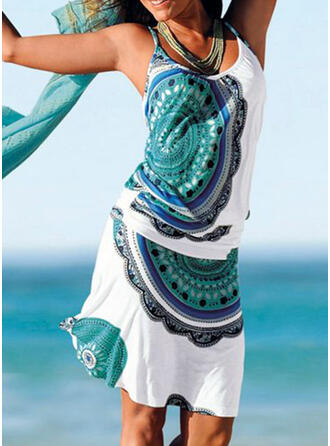 Print Sleeveless Sheath Knee Length Casual/Boho/Vacation Dresses