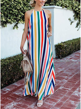 Striped Halter Maxi Shift Dress