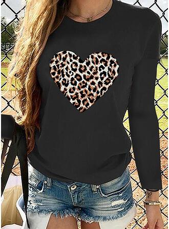 Leopardo Gola Redonda Manga Comprida Casual Camisetas (1003317666)