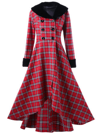 Plaid V-neck Midi A-line Dress