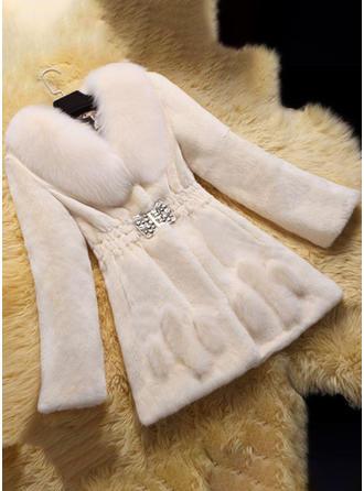 Sztuczne Futro Długie rękawy Jednolity kolor Slim Fit Płaszcze