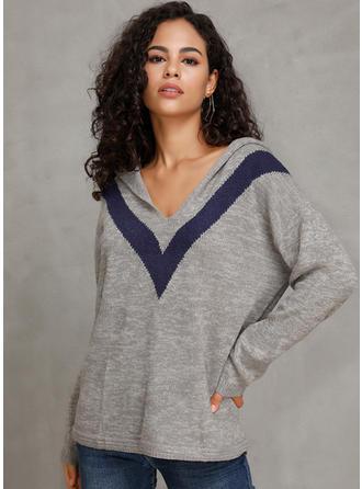 Prążek Bluza z kapturem Swetry