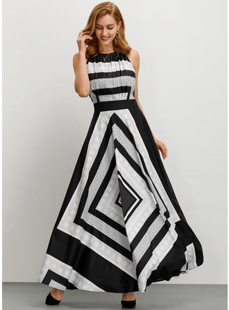 Print/Striped Sleeveless A-line Maxi Party Dresses