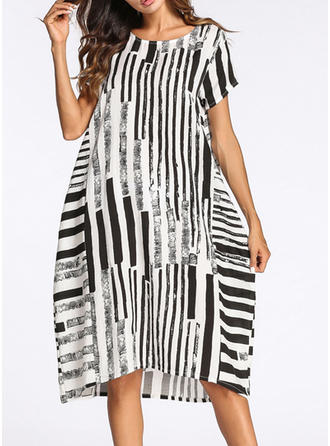 Striped Shift Knee Length Casual/Boho Dresses