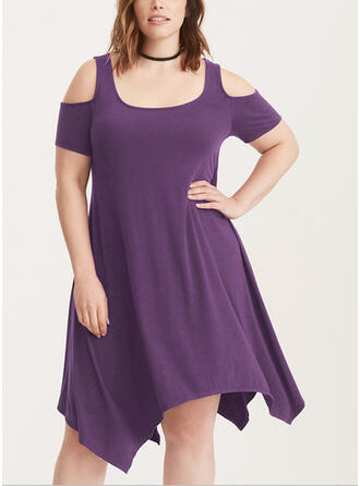Solid Short Sleeves/Cold Shoulder Sleeve A-line Asymmetrical Plus Size Dresses
