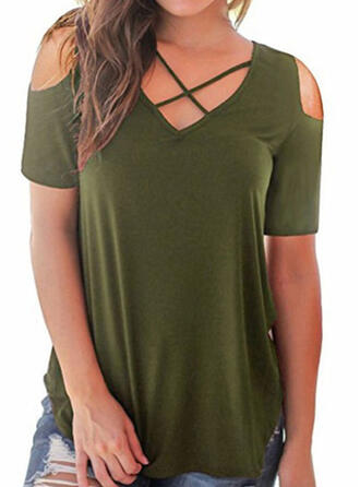 Solid Cold Shoulder Short Sleeves Casual Knit T-shirt