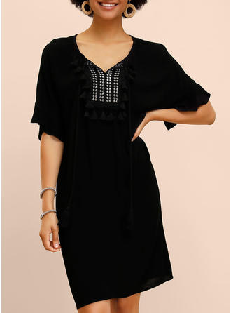 Solid 1/2 Sleeves Shift Knee Length Little Black/Casual Dresses