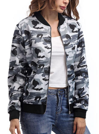 Cotton Blends Long Sleeves Print Jackets