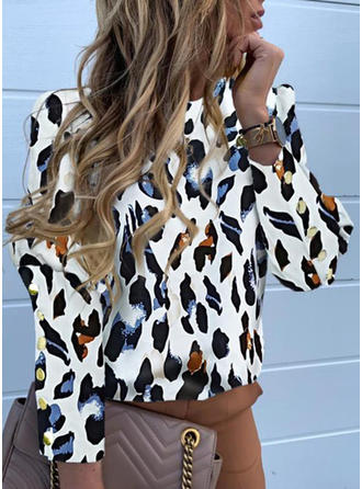 Animal Print Stand collar Long Sleeves Casual Shirt Blouses
