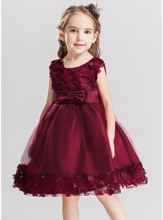 Girls Round Neck Solid Lace Bow Casual Party Dress