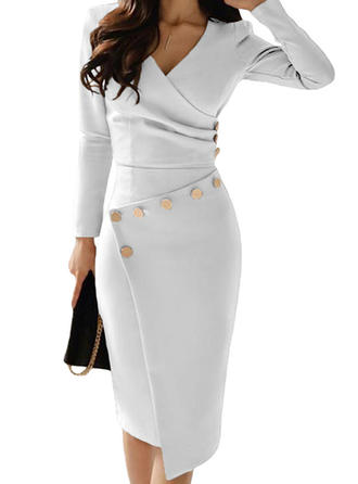 Solid Long Sleeves Bodycon Casual/Elegant Midi Dresses