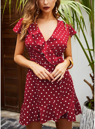 PolkaDot Short Sleeves A-line Above Knee Casual/Vacation Dresses