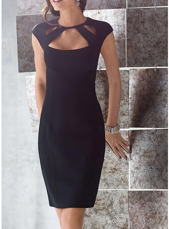 Solid Cap Sleeve Bodycon Knee Length Party Dresses