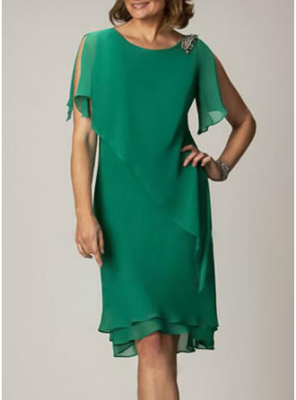 Solid Short Sleeves/Split Sleeve Shift Knee Length Party/Elegant Dresses