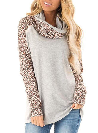 Polyester Color Block Animal Print Sweatshirt