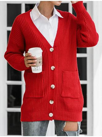 Polyester Long Sleeves Solid Cable-knit Chunky knit Cardigans