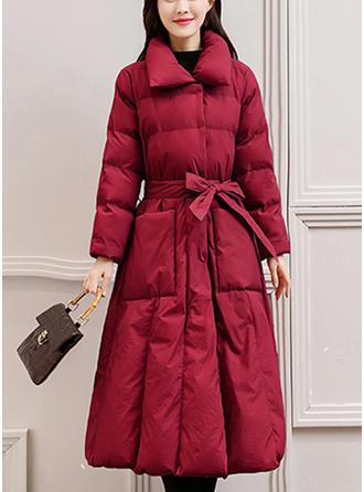 Bawełna Długie rękawy Jednolity kolor Długie Płaszcze
