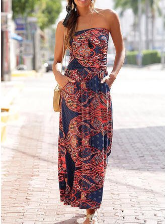 Print Sleeveless A-line Casual/Boho/Vacation Midi Dresses