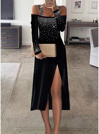 Print Sequins Long Sleeves Cold Shoulder Sleeve Sheath Elegant Midi Dresses