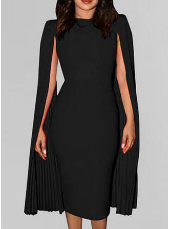 Solid Long Sleeves/Split Sleeve Sheath Knee Length Party/Elegant Dresses
