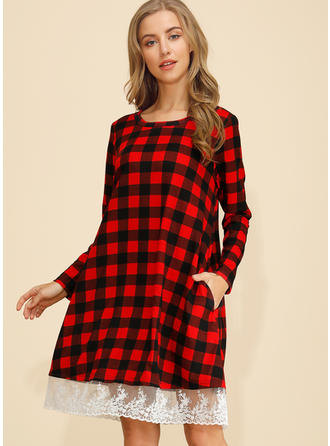 Lace/Plaid Long Sleeves Shift Knee Length Casual Dresses